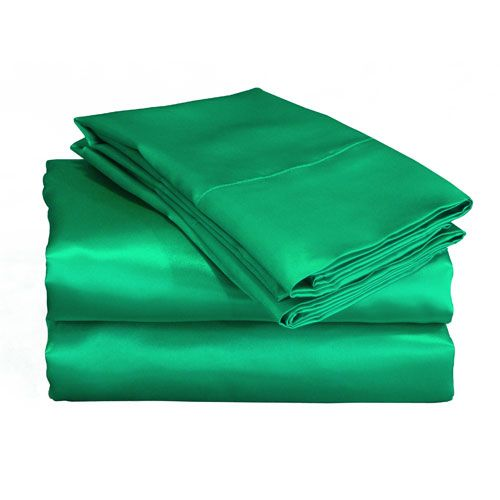 "Scent-Sation Charmeuse II Satin Emerald Sheet Set - 18"" deep pocket fitted sheet"