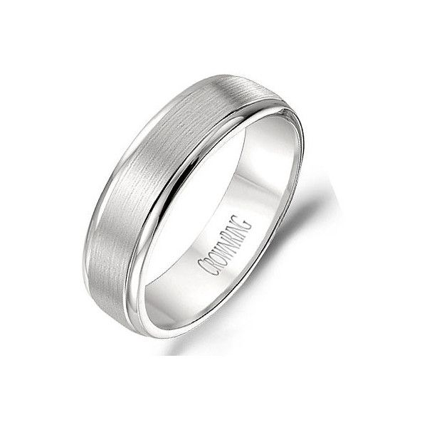 Crown Ring Carlex Collection Brushed Center 6mm Platinum Wedding Band ($2,620) ❤ liked on Polyvore featuring men's fashion, men's jewelry, men's rings, mens diamond band wedding ring, mens platinum ring, mens wedding rings and mens platinum wedding rings