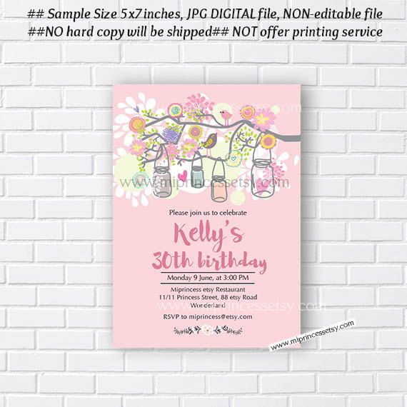 Birthday invitation for any age mason jars shabby chic 1st birthday invitation for any age mason jars shabby chic 1st filmwisefo