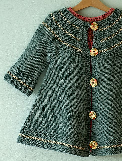 Toddler knit sweater - no seams; links to pattern via Ravelry