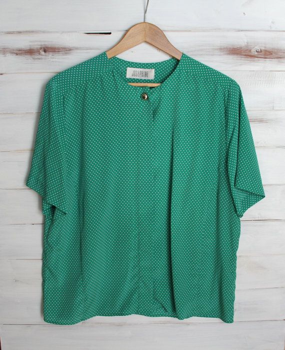 Vintage 80s Kelly Green Polka Dot Slouchy Top Gold by 601VINTAGE, $18.00