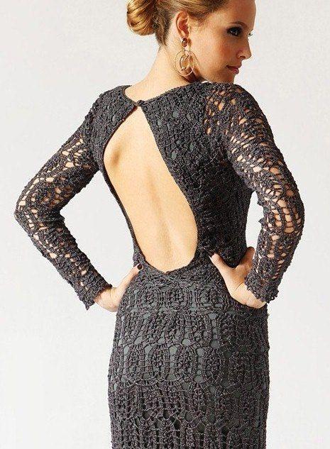 Вязанное крючком платье с открытой спиной