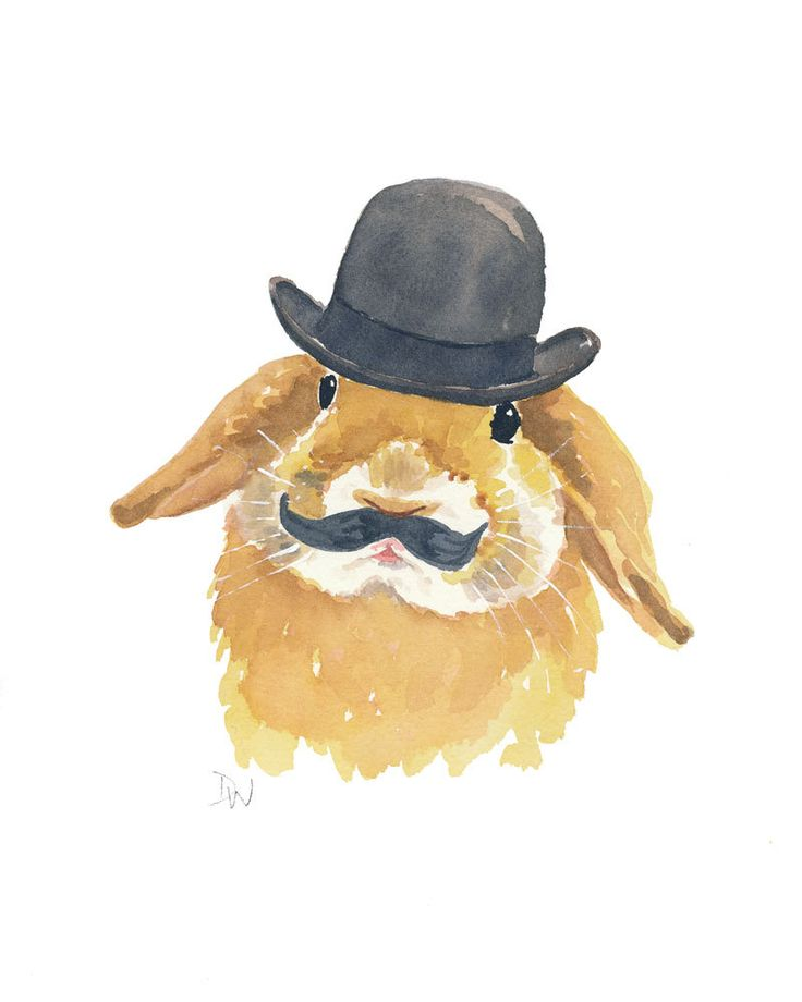 Rabbit Watercolor PRINT - Bunny Art, Bowler Hat, Mustache, Open Edition. $15.00, via Etsy.