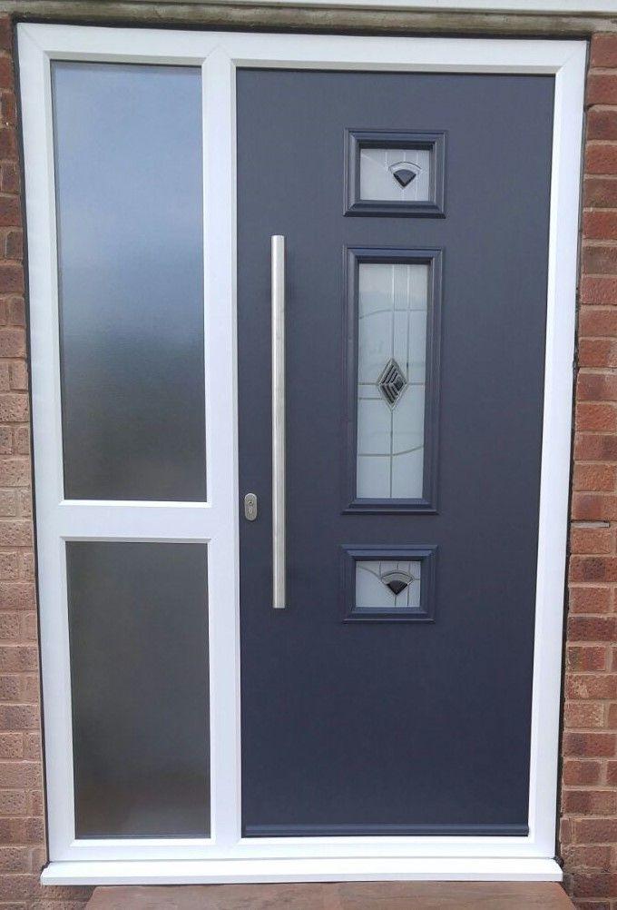 Anthracite Grey Composite Door In White Rehau Pvcu Frame