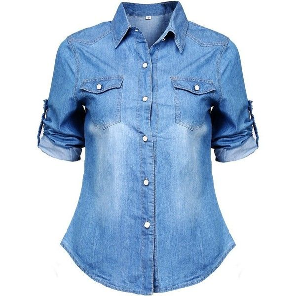 Women Long Sleeve Denim Blouse Office T Shirt Slim Tops (M(US6 Blue) found on Polyvore featuring tops, blouses, shirts, slimming tops, blue blouse, blue denim blouse, slimming blouses and long sleeve tops