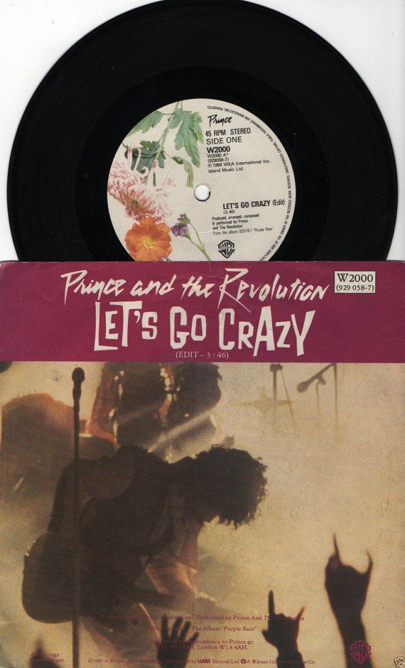 "PRINCE Lets Go Crazy 1984 Uk Issue 7"" 45 rpm Vinyl Single Record Pop Dance 80s music purple rain Artist W2000  Beats 45 Records Free S&h"