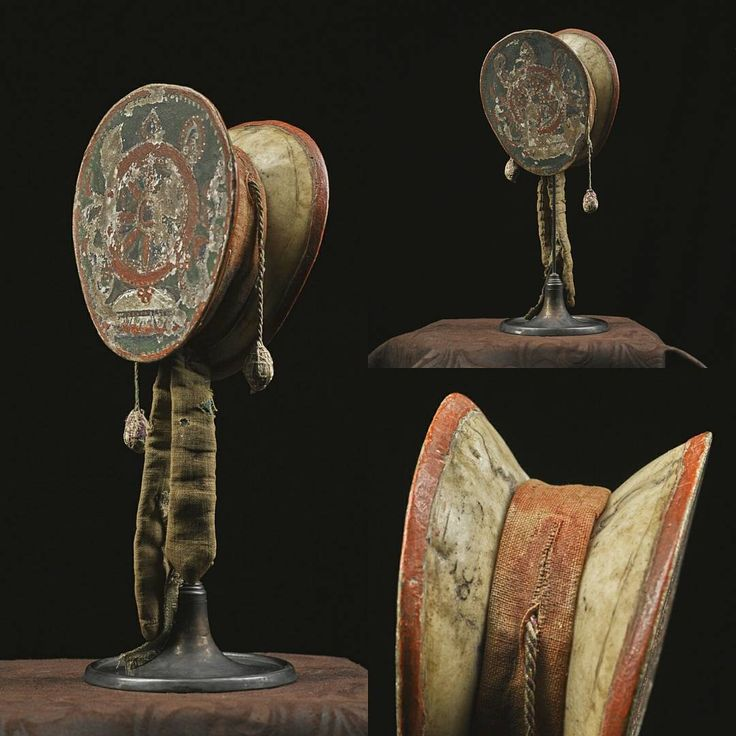 """""""Damaru (spirit drum) - A drum constructed of two human skull caps, traditionally one male, and one female. Used in Tibetan Buddhist rituals. Some early…"""""""