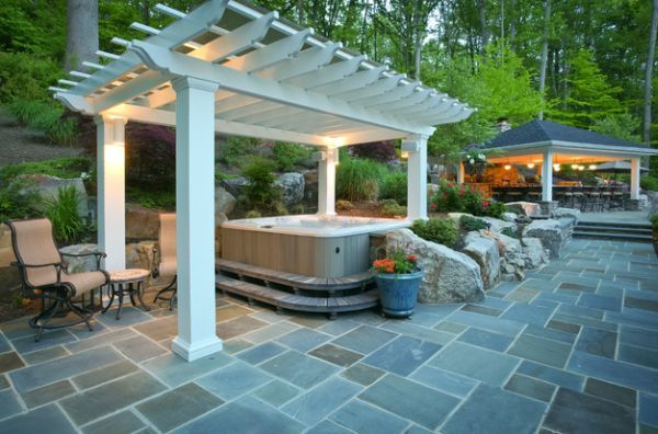 patio with hottub and pergula   Hot tub under the pergola – For a revitalizing dip!