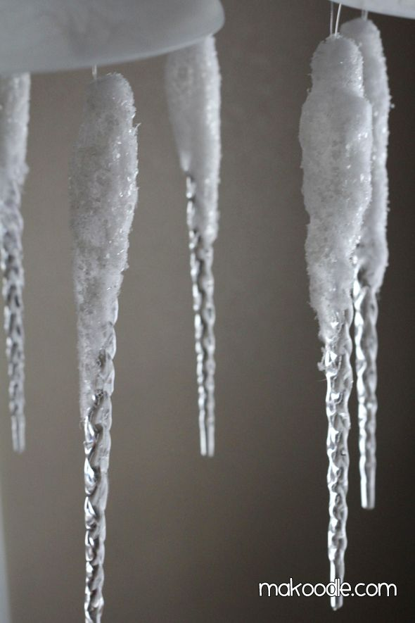 diy icecicles | Winter Decorating - Icicle Chandelier - Makoodle