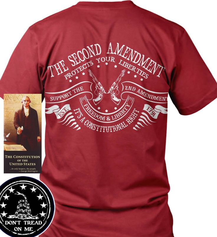 """Bundle of 3 items. The Second Amendment Protects Your Liberties. Red LRG T-S. Bundle of 3 items: T-shirt, Pocket Constitution & 4.5"""" decal. Official Sons of Liberty Tees® Gear. Made in the USA. Second Amendment / Pro Gun T-Shirts. Screen Printed on a Bayside Brand™ MADE IN AMERICA T-Shirt. 6.1 oz. 100% Pre-Shrunk American Made Cotton Tee. Premium Cotton Tee. Liberty, Second Amendment, and Patriot Apparel/T-Shirts - made by a small American owned business, by a couple of die hard patriots...."""