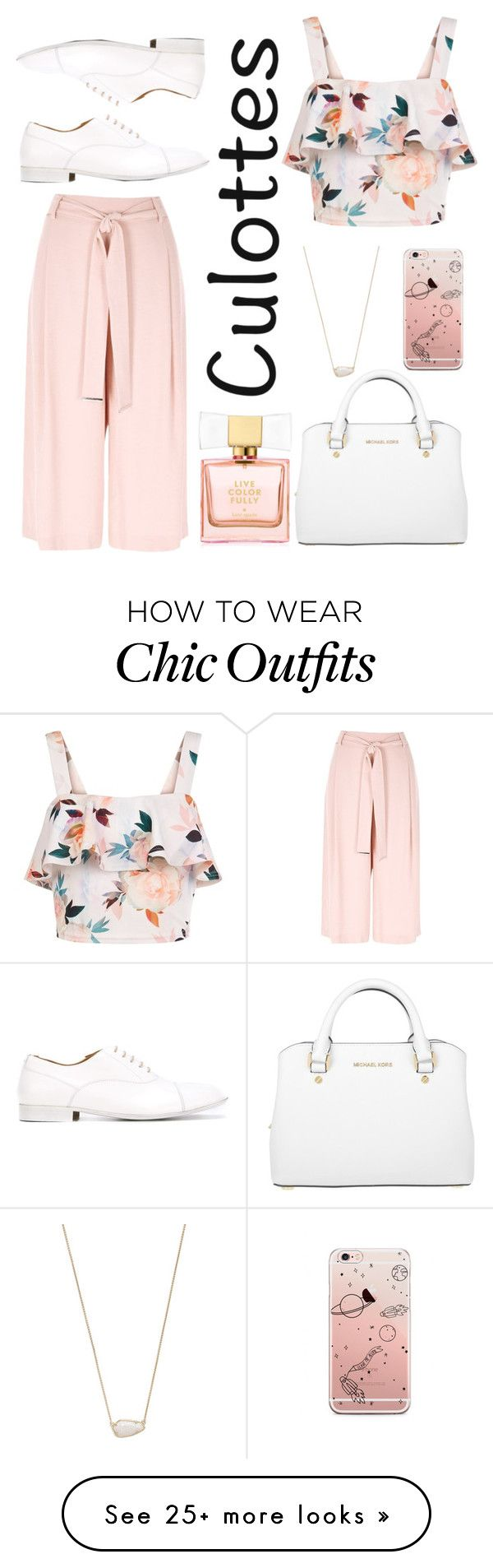 """tricky trend - culottes"" by adela-pysova on Polyvore featuring River Island, New Look, Michael Kors, Kate Spade, Kendra Scott, Maison Margiela, TrickyTrend and culottes"