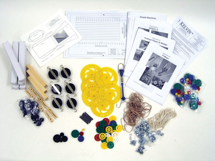 KIT: Simple Machines Class Pack with Kits for [8] Teams - KELVIN® Educational -machines make work easier? How are force, work and distance related? Your class will answer these and other questions as they apply critical thinking skills to investigate the earliest use of such machines as pulleys, wheel and axle mechanisms and levers.