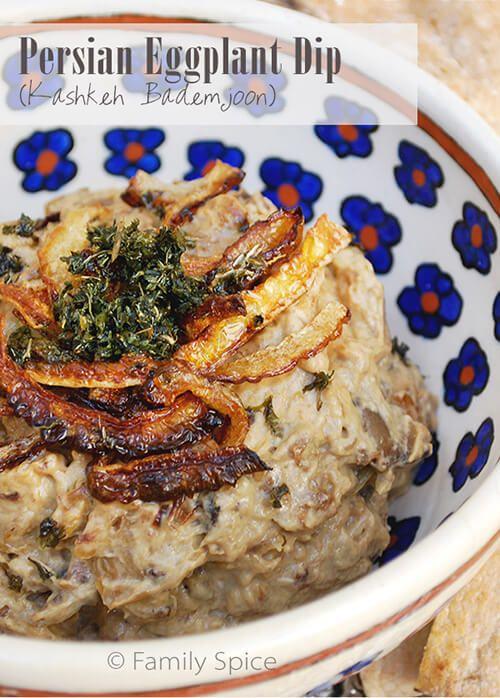 Persian Eggplant Dip (Kashkeh Bademjoon) - or use a thin Yogurt in place of Kashk