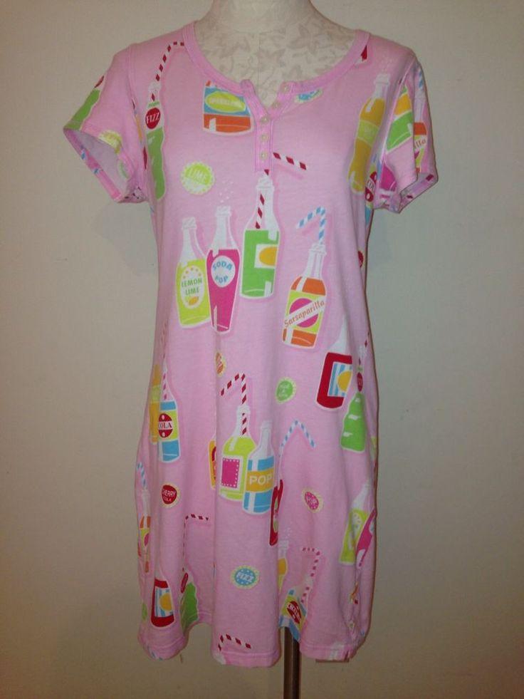 NICK AND NORA Pajama Shirt Night Gown Pink Soda Bottles Short Sleeve Cotton S #NickNora #Sleepshirt