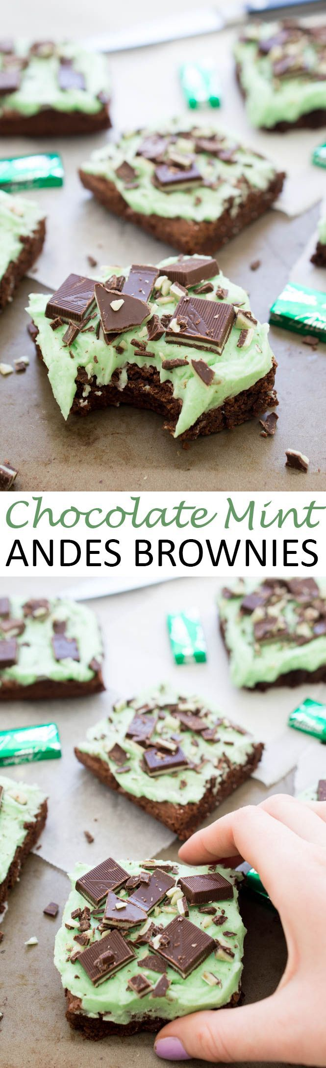 Ultra Fudgey Chocolate Mint Andes Brownies topped with a thick layer of Peppermint Buttercream Frosting. Perfect for St Patrick's Day! | chefsavvy.com