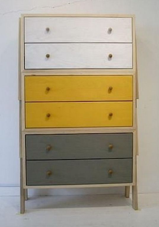 Painted dresser drawers - go with white, orange, inspiration diy Furniture