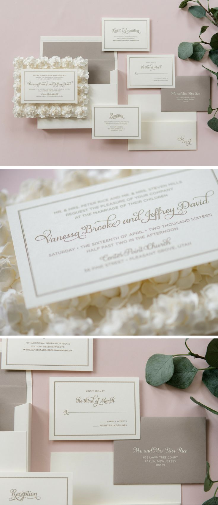 how to address wedding invitations inside envelope%0A This custom three dimensional wedding invitation is set on a bed of     ivory paper roses  Guests will receive the      u   d x      u   d flower bed inside  of a