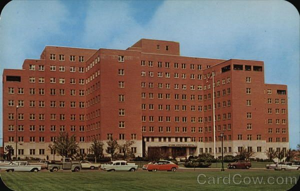Denver CO Veterans Administration Hospital, Completed in 1951 This VA hospital has beds to care for 504 veteran patients in its 17 wards. The hospital is equipped and staffed to give the finest and latest medical care. Located at 1055 Clemont, it is