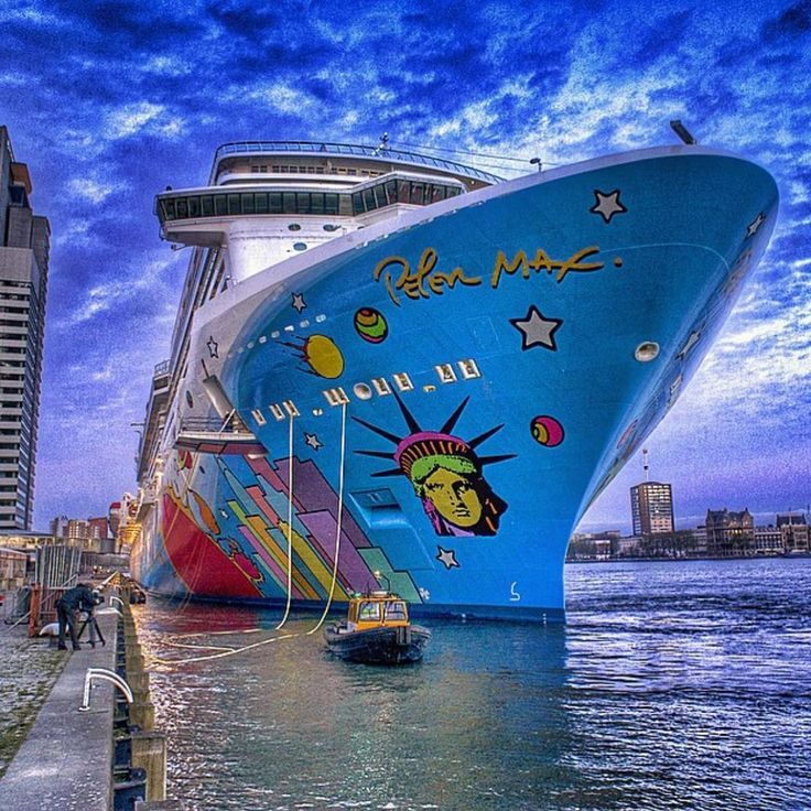 """Norwegian Breakaway letting go of the lines in Rotterdam. Picture by @cruisetastic.  #norwegianbreakaway #ncl #norwegiancruiseline #cruiselikeanorwegian…"""