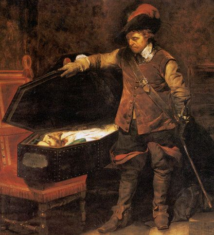 Cromwell Lifting The Coffin-lid and Looking at The Body of Charles I, 1831 By: Hippolyte De La Roche aka Paul Delaroche