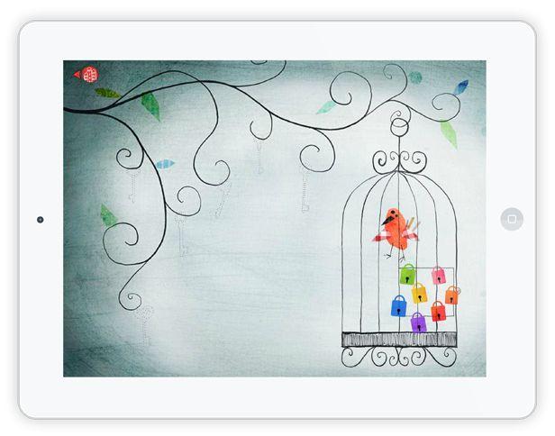 """Eine wirklich wundervolle Kinder Spiele App ist """"Petites Choses"""". Ein kleines Spiel in einer bunten, kreativen Welt aus Aquarellfarben, Texturen, kleinen Details, liebevollen Zeichnungen und toller Musik. Ziel ist es, ein Vögelchen aus seinem Käfig zu befreien."""
