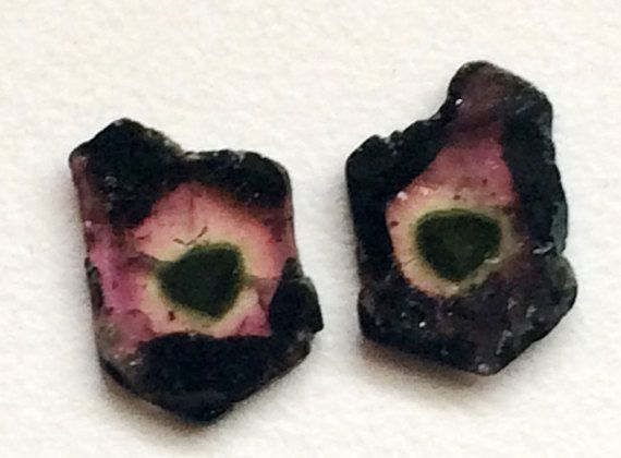 Watermelon Tourmaline Slices Matched Pair 2 Pcs by gemsforjewels