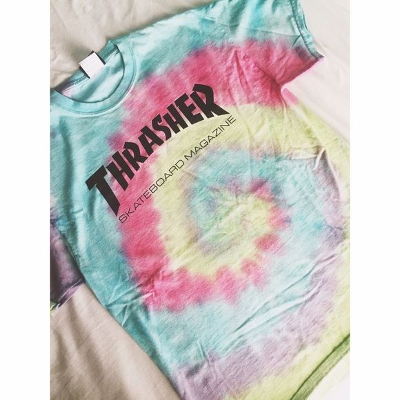 Tye dye thrasher t shirt Only selling because i have another one! Good condition super comfy Thrasher Tops