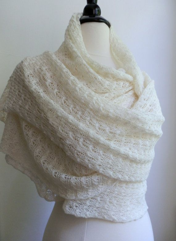 Knitted vanilla white lace shawl, wedding wrap, wool / tussah silk blend