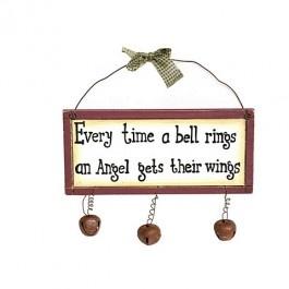 """Ring in the holidays with this decorative wooden wall plaque. This plaque features the phrase """"Every time a be...Price - $4.99"""