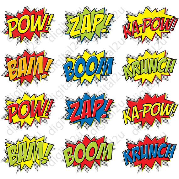 Superhero Comic Photo Booth Props Masks 32 props por digital2u