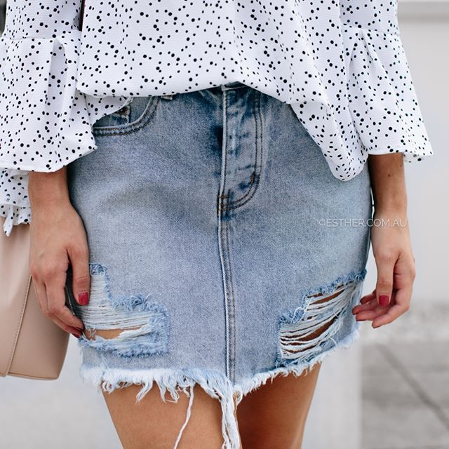@kailyemmasmith wears our Tash distressed denim skirt $69.95 xx