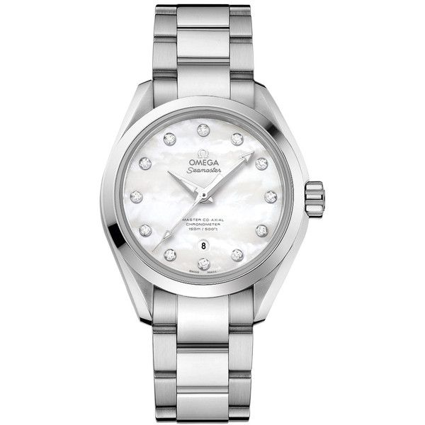 Omega Seamaster Aqua Terra Mother-of-Pearl Diamond Dial Ladies Watch ($5,472) ❤ liked on Polyvore featuring jewelry, watches, omega watches, skeleton bracelet, aqua master watches, water resistant watches and pandora bracelet