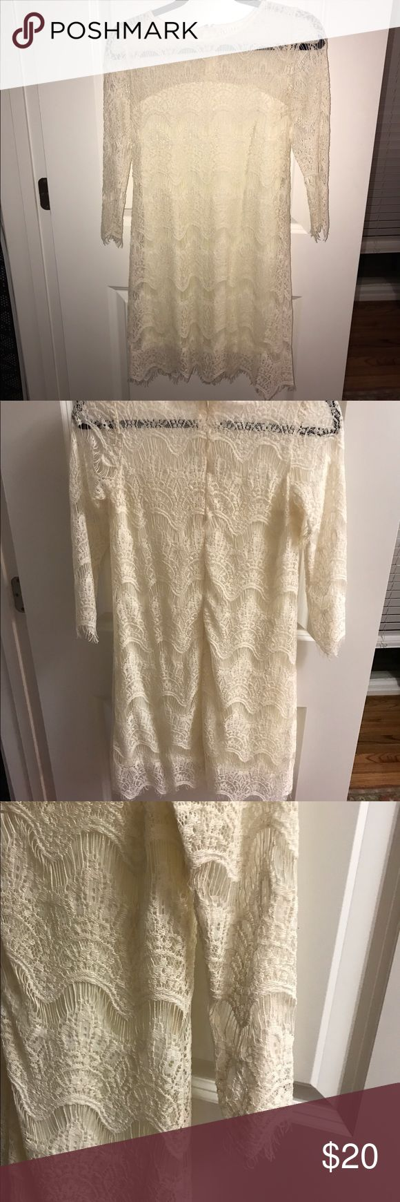 Cream Lace 3/4 sleeve dress REDUCED PRICE‼️ Lace with built in under slip. Worn once for pictures! Great condition! Super cute dress for work or casual night out! Dresses