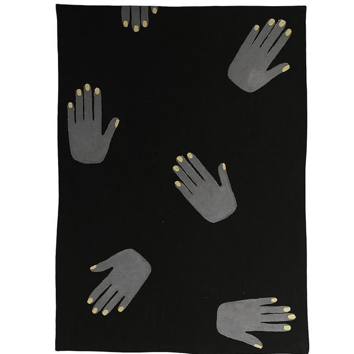 Black linen tea towel with silver hands with gold nails