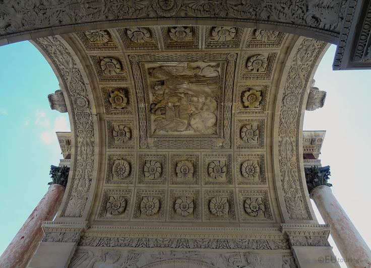 Here you can see the ceiling of the Arc de Triomphe du Carrousel which has many intricate patterns, designs and carvings to admire as long as you don't hurt your neck looking up!  You may be interested in more; www.eutouring.com/arc_de_triomphe_du_carrousel.html