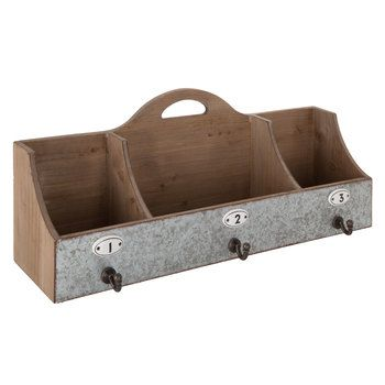 Galvanized Metal Organizer with Hooks & Numbers
