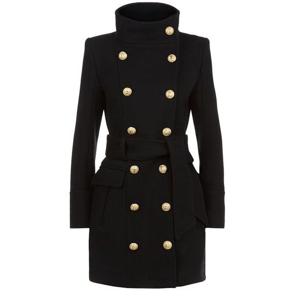 Balmain Funnel Neck Belted Coat ($3,380) ❤ liked on Polyvore featuring outerwear, coats, formal coat, military coat, waist belt, double breasted military coat and double breasted coat