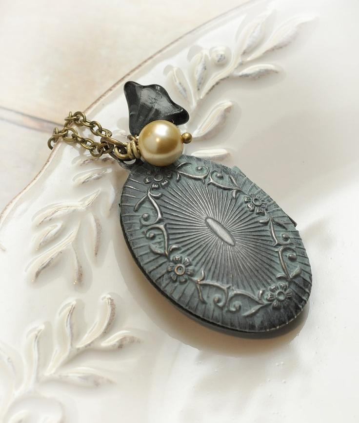 Antique Locket, Verdigris Patina, Long, Cream Pearl, Blue Czech Glass Flower. $24.00, via Etsy.