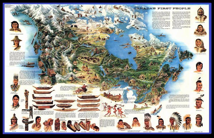 Mappa delle etnie canadesi. L'area subartica è coperta principalmente dalla taiga (dal russo tajgà) o foresta boreale. Nel subartico americano sono presenti etnie appartenenti a 2 grandi famiglie linguistiche gli Algonquian: Innu (Naskapi e montagais), Cree (western Cree, Cental Cree, eastern Cree, Atikamekw), Anishinaabe (Northern Ojibwa, Lake Winnipeg Saulteaux) abitano l'area orientale a est e a sud-est della Baia di Hudson e gli Na-dené (Athabaskan) che ne occupano l'area occidentale.