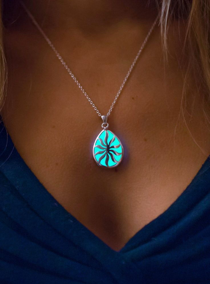 Aqua Glowing Necklace - Glow in the Dark Jewelry - The Sun in your Life - Glowing Pear pendant - Gifts for Her - Christmas Gifts - Holidays by EpicGlows on Etsy https://www.etsy.com/listing/209755539/aqua-glowing-necklace-glow-in-the-dark