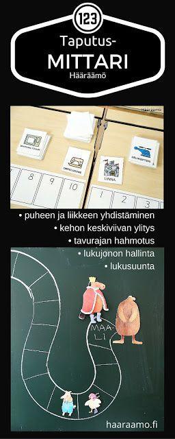 Tulosta taputusmittari (pdf) esi- ja alkuopetukseen. Sen käytössä harjaantuu moni asia: puheen ja liikkeen yhdistäminen, kehon keskiviivan ylitys, tavutus, lukujonon hallinta, laskeminen ja lukusuunta. http://www.haaraamo.fi