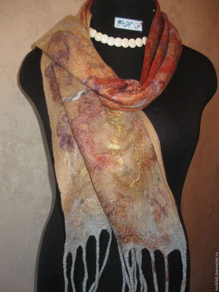 """Купить Валяный шарф """"Золотой"""" - золотой, шарф, женский шарф, валяный шарф, шарф шерстяной"""