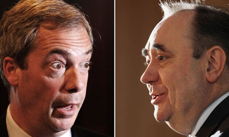 Nigel Farage and Alex Salmond trade insults in battle of nationalists  SNP leader accuses Farage of touting obnoxious policies after Ukip leader labels protesters 'fascist scum'