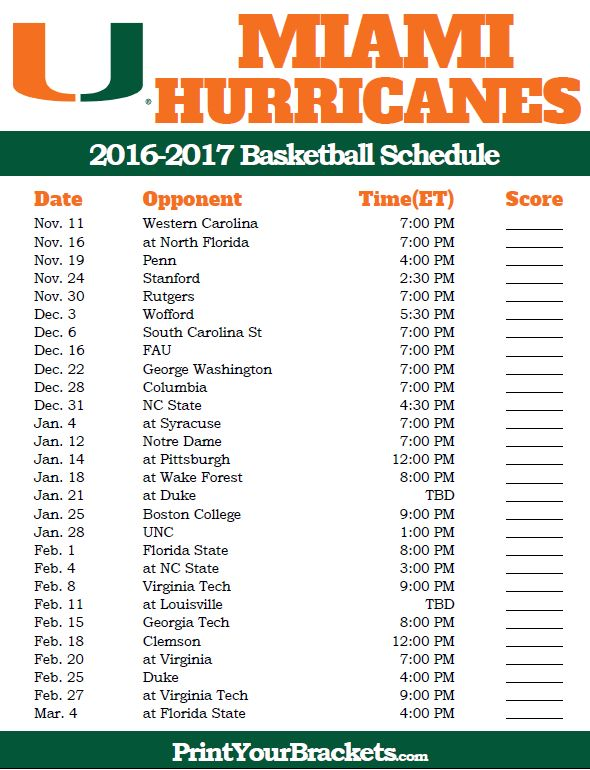 Miami Hurricanes 2016-2017 College Basketball Schedule