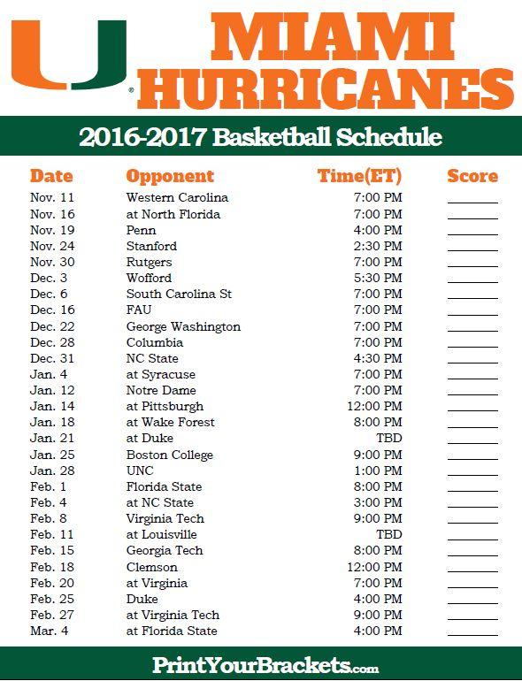 Miami Hurricanes 2016-2017 College Basketball Schedule