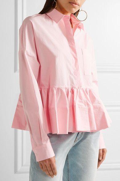 MSGM - Stretch Cotton-blend Poplin Peplum Shirt - Baby pink - IT38