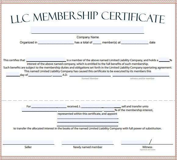 Llc Membership Certificate Template Word 1 With Regard To Llc Membership Certificate Template Wor Certificate Templates Free Certificate Templates Certificate