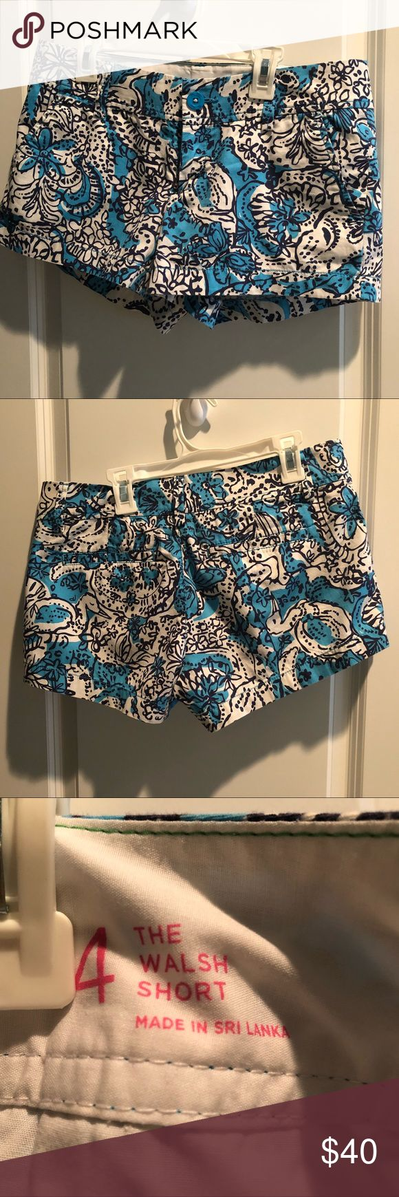 """Lilly Pulitzer Walsh shorts Hippy hippy shake in Ariel blue good used condition , 3"""" in seam, smoke free home. Lilly Pulitzer Shorts"""