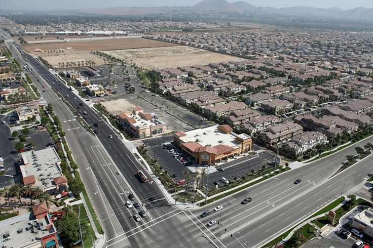 Aerial View of Limonite Ave in City of Eastvale, CA in Riverside County, California.