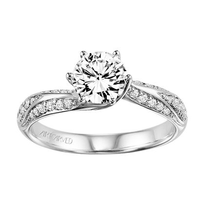 31-V301ERD Lily Palladium Engagement Ring with Setting for 1ct Center - Gold and Gems